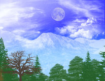Winter Blues. Cold Ice like mountains with building & blowing clouds. With a lower valley view. Set on a blue starless sky with a full moon (blue Royalty Free Stock Images