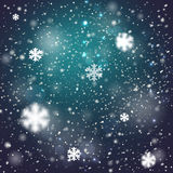 Winter blurred bokeh background with glowing. Snowflakes. Great holiday design for New Year greeting cards, posters and flyers Stock Images