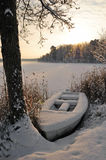 Winter boat Stock Image
