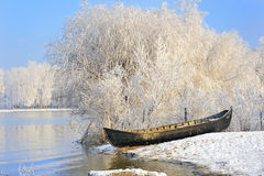 Winter boat Royalty Free Stock Photos