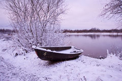 Winter boat.Soon dawn Stock Photography