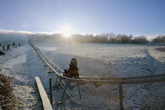 Winter bobsled track on Czech Central mountain, Czech Republic Royalty Free Stock Photography