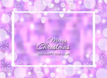 Winter bokeh purple background with snowflakes. Christmas glowing decorations blurred. Vector. Illustration royalty free illustration