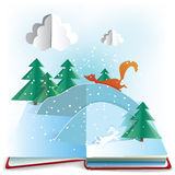 Winter Book. 3d paper pop up book with winter scene. EPS10, transparency Royalty Free Stock Photos