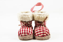 Winter boot ornament. Winter boots ornament to warm up the Christmas tree Stock Images