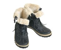 Winter boots. On a white background Royalty Free Stock Photography