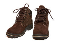Winter boots. Brown  on a white background Stock Photography