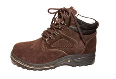 Winter boots. Brown  on a white background Royalty Free Stock Photography