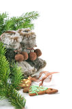 Winter boots, christmas tree and ginger cookies Stock Photography