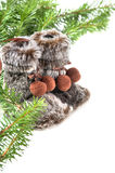 Winter boots with christmas tree Stock Photo