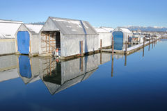 Winter-Boots-Jachthafen Stockbild