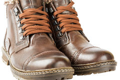 Winter boots, men's, brown, with laces and thick soles Royalty Free Stock Photography