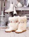 Winter boots. old fashioned style. Retro winter boots. old fashioned style Stock Images