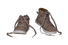 Winter boots and shoes. A pair brown suede winter boots isolated on a white background. Leather shoe fashion new collection winter. 2018 to 2019 stock images