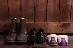 Winter boots, shoes and slippers. Stock Images