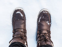 Winter Boots in The Snow Royalty Free Stock Images