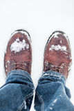 Winter boots in snow Royalty Free Stock Images