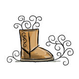 Winter boots ugg, sketch for your design Stock Photography