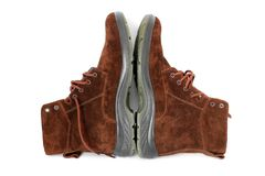 Winter boots on a white background royalty free stock photo