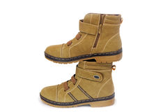 Winter boots for women on white background. Royalty Free Stock Image