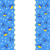 Winter border with birds. Birds and snowflakes on a blue background, vector Stock Image