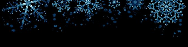 Winter border with blue snowflakes on black background . Hand-painted horizontal illustration Royalty Free Stock Image