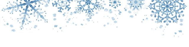 Winter border with blue snowflakes on white background . Hand-painted horizontal illustration Royalty Free Stock Photos