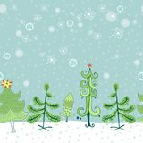 Winter border with christmas trees Stock Photography
