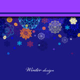 Winter border design with red and blue snowflakes. Royalty Free Stock Photos