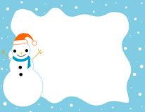 Winter Border / frame. Clean blue snowman and falling snow Christmas border / frame Stock Photo
