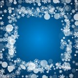 Winter border with white snowflakes Stock Image
