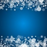 Winter border with white snowflakes Stock Photos