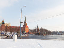 Winter on Borovitskoy Square in Moscow Stock Photography