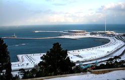 Winter on Boulevard Baku Stock Photo
