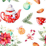 Winter bouquet,candy,teapot,cup of tea,pinecone,Christmas balls stock illustration