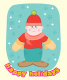 Winter boy. Card with a picture of a boy and snowflakes bottom text Royalty Free Stock Photo