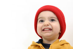 Winter Boy Child with Big Smile Royalty Free Stock Photos