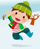 Winter boy. Illustration of cute cartoon winter boy Stock Photo
