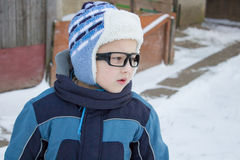 Winter boy looked aside Royalty Free Stock Photos