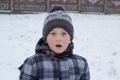 Winter boy opened his mouth. Little boy is surprised to watch his mouth open in the winter Royalty Free Stock Images