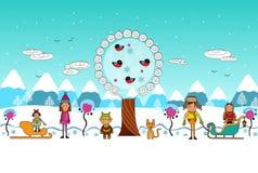 Winter boys and girls flat cartoon  vector illustration Stock Photo