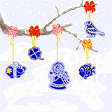 Winter branch with Christmas trimmings faience vector. Winter branch with Christmas trimmings faience vintage vector illustration Royalty Free Stock Images