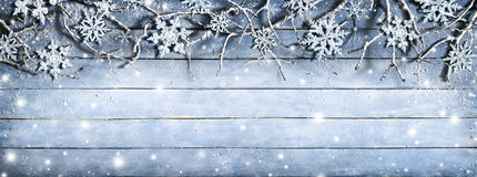 Winter Branches On Wooden Plank stock photos