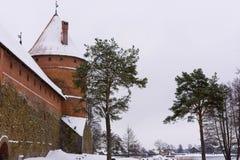 Winter break castle in winter background royalty free stock photography