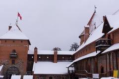 Winter break castle on the winter background stock image