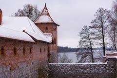Winter break castle in winter background stock images