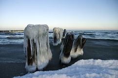 Winter breakwater Stock Photography