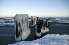 Winter breakwater. Breakwater in the winter sea stock photography