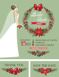 Winter Bridal shower set.Bride,Christmas wreath, stock illustration