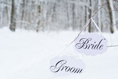 Winter bride and groom decoration boards Royalty Free Stock Image